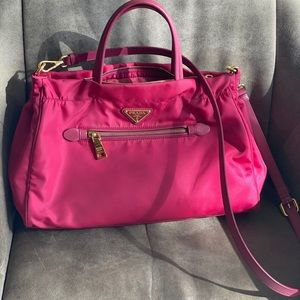 SOLD - Prada Pink Tessuto Convertible Satchel